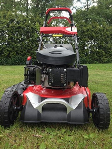 Benzin Rasenmäher 5 PS, 48cm, Radantrieb, inkl Mulchkit, 60 Liter Fangkorb -
