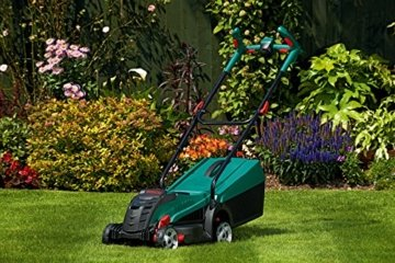Bosch DIY Akku-Rasenmäher Rotak 32 LI, Akku, Ladegerät, 31 l Grasfangkorb, Sicherheitsschlüssel, Karton (32 V, 2,0 Ah, 32 cm Schnittbreite, 30-60 mm Schnitthöhe) -