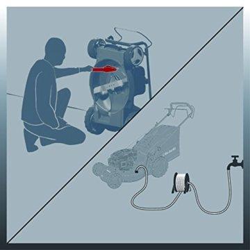 Einhell Benzin Rasenmäher GE-PM 48 S HW B&S (2 kW, 48 cm Schnittbreite, 75 l Fangsack, Hinterradantrieb, Mulchfunktion, Seitenauswurf, empfohlen bis 1600 m²) -